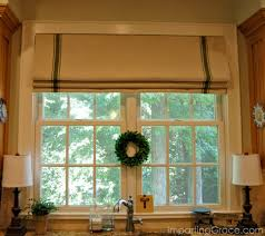 faux roman shade. Paint A Dropcloth To Resemble Grainsack And Create Faux Roman Shade With Tension Rods L