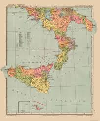 International Map Sicily Italy Streits Atlas 1913 23 X 2781