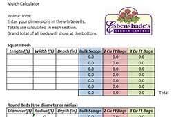 Mulch Calculator Chart Mulch Calculator