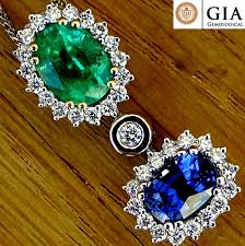 blue sapphire green emerald and diamond pendant with necklace untreated sapphire zambian gemstone 3 25 ct