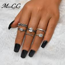 Cyc Design Wholesale Misscycy Ethnic Ancient Silver Color Crown Stars Ring Set
