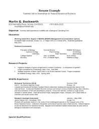 Internship Wildlife Biologist Resume Example Template
