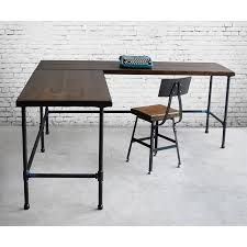 industrial style office desk. Charming Reclaimed Wood Desk For Your Home Office Design: Industrial L Shaped Style