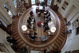 oval office photos. President George W. Bush Oval Office Meeting From Above, December 21, 2001. Photos N