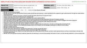 Public Relation Manager Job Resume Sample