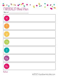 Weekly Meal Plan Worksheet Organizational Printables Meal Plan Grocery List Dawn