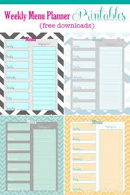 menu planner printable free weekly menu planner printable 4 colors cupcake diaries