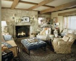 Living room of rosehill cottage in the movie the holiday love that big blue velvet tufted ottoman the charming cottages interior sets on a soundstage