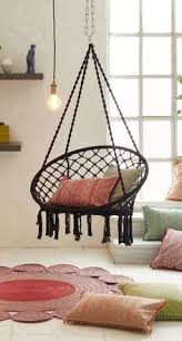 round hanging chair with cushion
