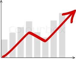 Stock Chart Up Vector Diagram With Red Arrow Going Up Stock Vector