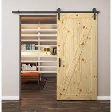 Z-Brace Rustic Knotty Pine Barn Door with Black Hardware - Clear ...