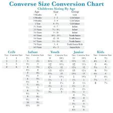 Converse Size Chart Kids Converse Size Chart Shoe World Of Printable And Within
