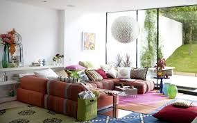 Comfy Colorful Ethnic Living Room Decor With Awesome Red Sofa And