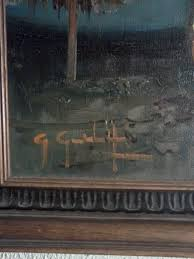 initials g g are all that i can make out the photo of painting and photo of signature is attached