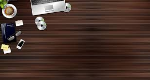 office desk wallpaper. Mix Of Office Supplies And Gadgets On A Wooden Desk Background . Wallpaper