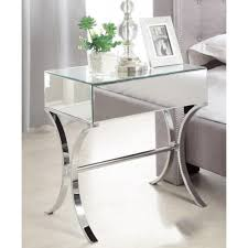 mirrored bedside table. barcelona mirrored bedside table with chrome stand single drawer e