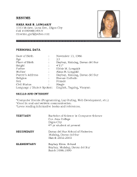 Sample Resume Resume Sample Simple De100e100a100f The Simple Format Of Resume For Job 19