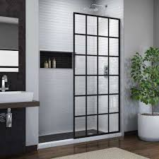 french linea toulon 34 in x 72 in frameless fixed shower door in satin