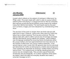 afternoons by philip larkin a level english marked by  document image preview