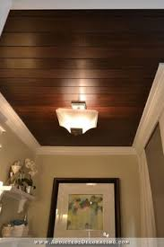 Image Living Room Diy Stained Wood Slat Ceiling Made From Thin Plywood Cut Into Strips Pinterest Wooden Ceilings Style And Substance Combined Home Ceiling