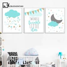 blue clouds moon nursery canvas wall art posters and prints large canvas painting nordic picture kids on childrens canvas wall art with blue clouds moon nursery canvas wall art posters and prints large