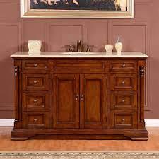Silkroad 58 Inch Antique Single Sink Bathroom Vanity Cream Marfil Marble Counter Top
