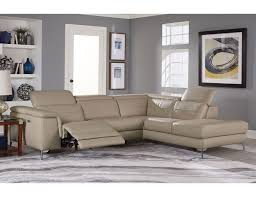 trevor top grain leather modern sectional with recliner jpg