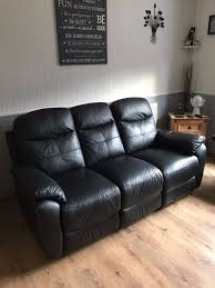 harveys 3 seater leather recliner sofa in black