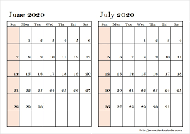 Printable Monthly Calendar July 2020 May June July 2020 Calendars Photo Calendar Printable