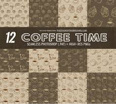 12 Coffee Pattern Backgrounds Photoshop Free Brushes
