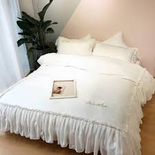 pure cotton cream white pink bedding set luxury bed set fitted bed sheet duvet cover