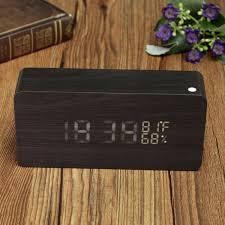 Online Kaufen Holz Führte Uhr Wecker Sprachsteuerung Zeit Temperatur