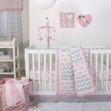 the peanut shell piece baby girl crib bedding set pink elephants nursery and grey zig zag