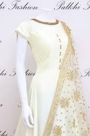 White Designer Outfits Elegant White Soft Satin Silk Designer Outfit With Gorgeous