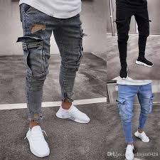 pantalones jeans plos rasgados para