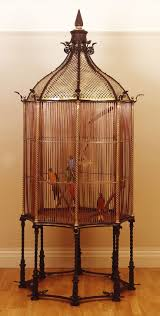 English Victorian Bronze And Copper Octagonal Shaped Monumental Bird Cage  With Gilt Pierced Dome And Finial