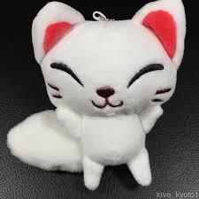 f s fushimi inari shrine soft white fox doll cute kawaii with chains from kyoto