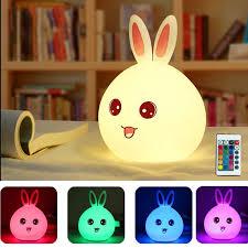 LED Cute <b>Rabbit 7 Colors</b> Changing Silicone Cat Kitten Night Light ...
