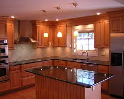Kitchen:Awesome L Shape Kitchen Decoration With Black Granite Kitchen Island  Awesome L Shape Kitchen