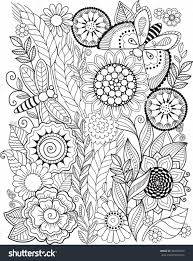 Coloring Book For Adult Summer Flowers Vector Elements Color Book For Grown Ups L