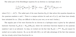 question the radial part of the schrodinger equation for an electron in a hydrogen atom is 2m r2 where u r