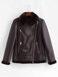 zip up pu leather sheepskin coat dull purple s