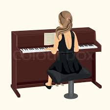 back view of young woman playing brown upright piano on white background stock vector colourbox