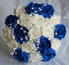 bride or bridesmaid ivory royal blue wedding bouquet with crystal spray approx inches wide some pearls would be pretty in ths