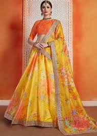 Lehenga Design In Yellow Colour Yellow Floral Digital Print Lehenga Choli