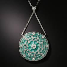 french guilloche enamel edwardian diamond pendant necklace previous to enlarge photo