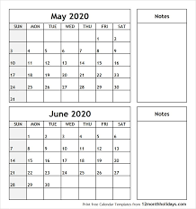 Calendar May 2020 May And June 2020 Calendar For Otohondalongan Com