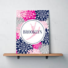 Navy And Pink Bedroom Dance Silhouette Canvas Personalized W Name Flowers Shop