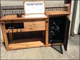 outdoor bar cabinet awesome rustic wooden cooler table cart wine with mini fridge diy c