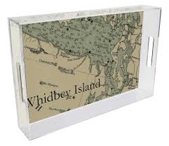 T2672 Whidbey Island Antique Nautical Chart Lucite Tray